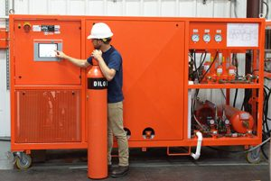 Technician working on DILO SF6 gas separator