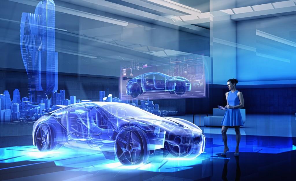 Caucasian woman examining hologram of car